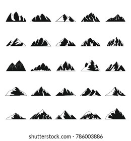 Mountain icons set. Simple illustration of 25 mountain  icons for web