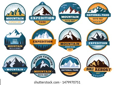 Mountain labels. Hiking emblems, mountains emblem badges and outdoors hill travel label. Snow mountains tourism logo or hike mountaineering expedition patch.  isolated sign set