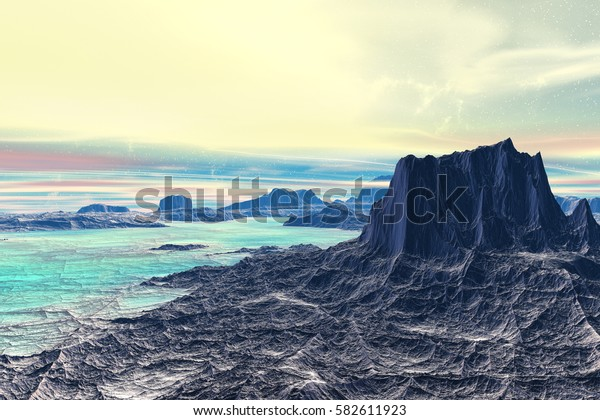 Mountain and lake. Landscape of stranger planet. 3D illustration