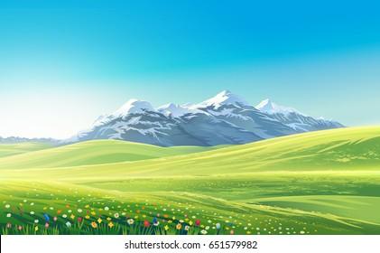 Mountain landscape with alpine meadows, raster illustration.
