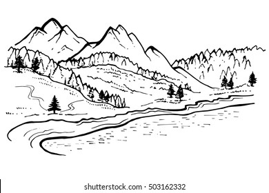 Mountain Landscape, forest pine trees sketch. Hand drawn ink Illustration.