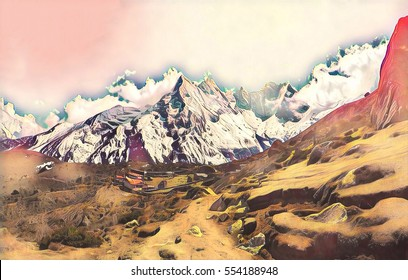 Mountain landscape with high peak and valley. Pink toned digital illustration. Sport challenge and achievement concept. Severe climate and nature of Himalayas. Wild place in Nepal. Treking path poster