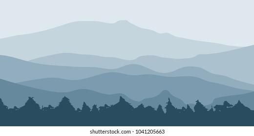 Mountain landscape Illustration.