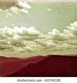 Mountain Landscape In Medium Red