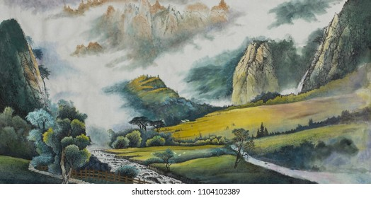 mountain landscape with a river and fields painted in Chinese style