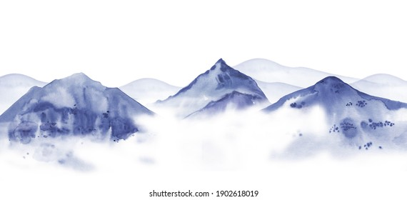 Mountain landscape. Traditional Chinese ink drawing style. Hand drawn watercolor sketch illustration
