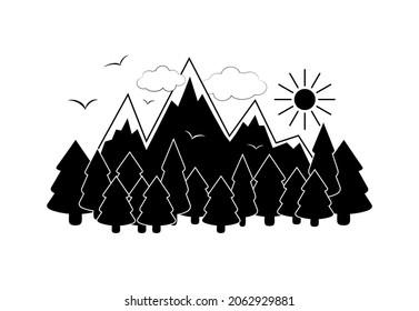 山岳の景観ベクターイラスト、山岳、山岳、山岳、太陽、雲、飛鳥、ハイキングのロゴ