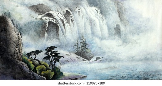 mountain landscape with a waterfall and trees