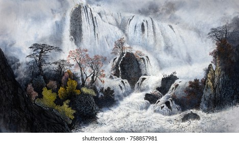 Mountain landscape with waterfalls and fog
