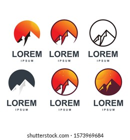 mountain logo design with modern color bundle