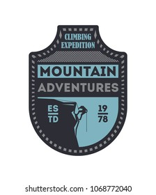 Mountain outdoor adventures vintage isolated badge. Mountain rock camping sign, touristic expedition label, nature hiking and climbing illustration