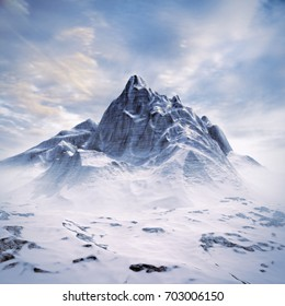 Mountain peak scene / 3D illustration of snowy mountain under sunny sky