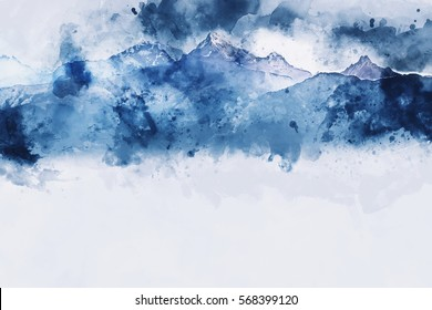 Mountain peak in winter paining in blue tone on white background,  digital watercolor painting