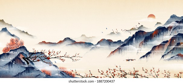 Mountain peaks full of plum blossoms, ancient oriental paintings, and oriental classical paintings of Asia.Ink and wash landscape painting.