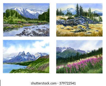 Mountain peaks, trees, wild flowers, clip art. Watercolor landscape images of mountains, trees, wild flowers, rivers, lakes in poster and clip art form.