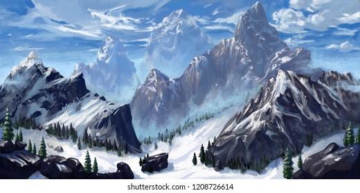 Mountain. Realistic Style. Video Game's Digital CG Artwork, Concept Illustration, Realistic Cartoon Style Scene Design