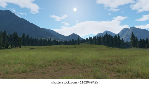 MOUNTAIN AND RIVER IN A VALLEY 3d illustration