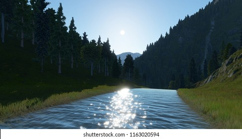 MOUNTAIN AND RIVER IN A VALLEY Lombardia, Italy 3d illustration