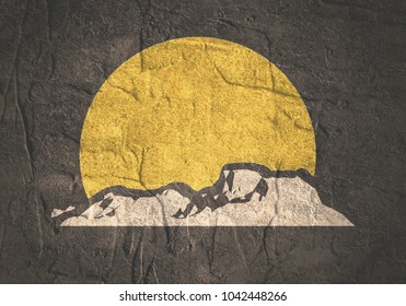 Mountain silhouette. Minimal abstract emblem template. Outdoor icon of the mountain tops. Camping mountain travel label. Climbing or hiking theme background