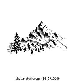 Mountain sketch. Hand drawn black mountains and forest, isolated on white.