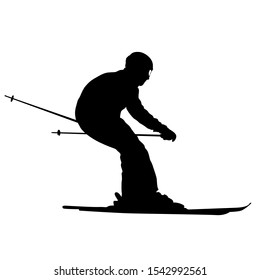 Mountain skier speeding down slope sport silhouette