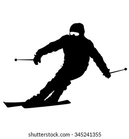 Mountain skier  speeding down slope. sport silhouette.