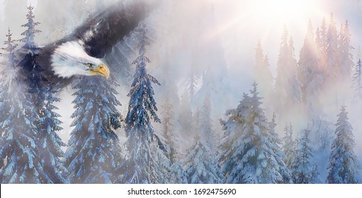 mountain snowy landscape with eagle, graphic effect.
