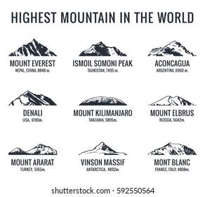 Mountain tourist raster logos set. Adventures Icon mount. Highest mountain in world. Everest and Ismoil Somoni Peak, Aconcagua, Denali, McKinley, Kilimanjaro, Elbrus, Ararat, Vinson Massif, Mont Blanc