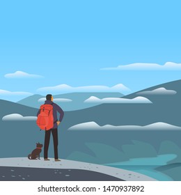 Mountain valley landscape cartoon. Adventure tourism trip vacation outside city. Wild nature scenic view poster. Man, dog in Alps high mountains. Minimal cartoon outdoors countryside scene background