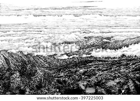 Mountain View Black White Dashed Style Stock Illustration Royalty
