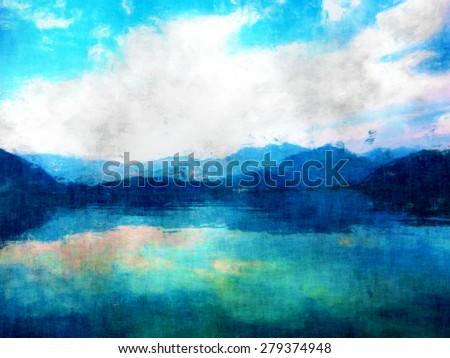 Mountain View Landscape Oil Watercolor Painting Stock Illustration