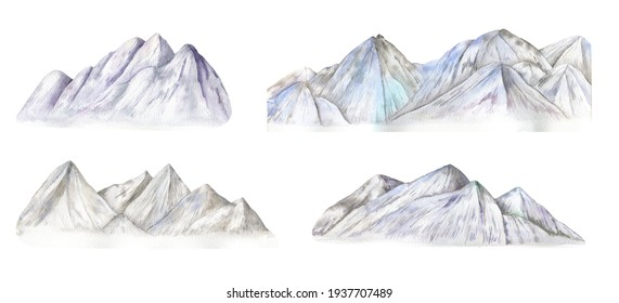 Mountain watercolor illustration isolated on white background