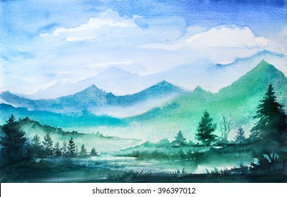Mountain watercolor landscape.