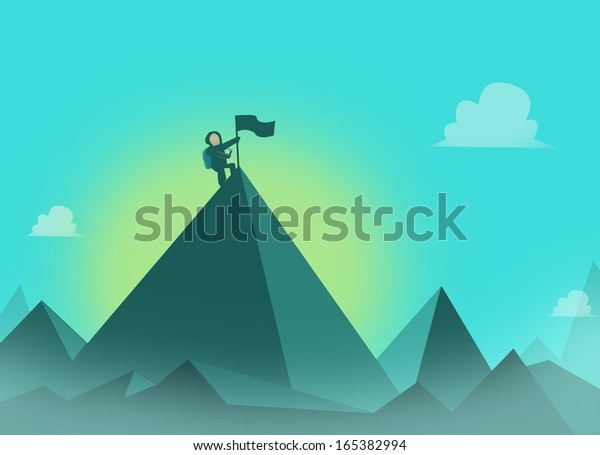 Mountaineer with flag at the summit. Mountaineering concept illustration