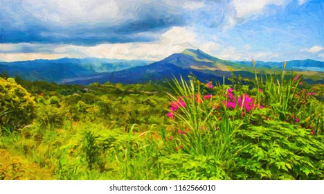 Mountainous summer colorful landscape with flowers in oil paints. Digital structure of painting