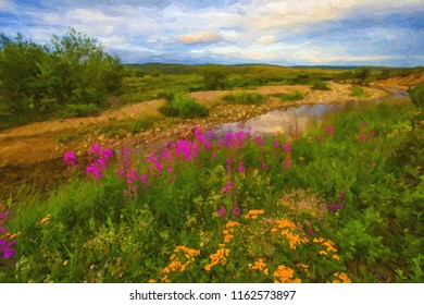 Mountainous summer colorful landscape with a river and flowers. in oil paints. Digital structure of painting