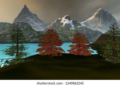 Mountains, 3d rendering, an alpine landscape, grass on the ground, beautiful trees, blue water on the lake and a cloudy sky.