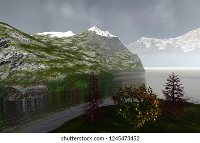 Mountains, 3d rendering, an autumn landscape, trees with red and yellow leaves, wonderful waters on the lake and a cloudy sky.