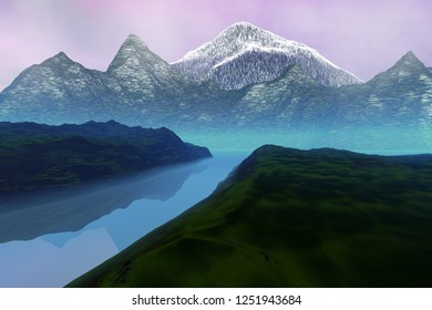 Mountains, 3d rendering, a natural landscape, grass on the ground, a beautiful river and a cloudy sky.