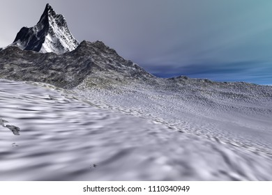 Mountains, 3d rendering,  a rocky landscape, snow on the ground and colored clouds in the sky.
