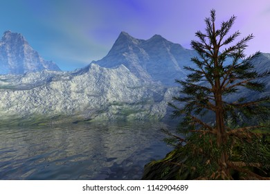 Mountains, 3d rendering, a rocky landscape, reflection on water, a coniferous tree and hazy sky.