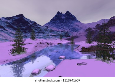 Mountains, 3d rendering, a winter landscape, snow on the ground, coniferous trees and stones in the river.
