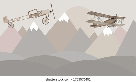 Mountains and biplanes kids room wallpaper design