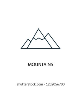Mountains concept line icon. Simple element illustration. Mountains concept outline symbol design from Camping set. Can be used for web and mobile UI/UX
