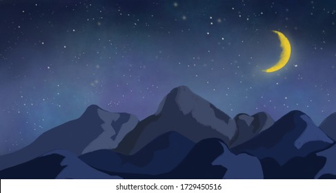 Mountains and the crescent moon in beautiful starry night sky landscape. Wallpaper and background.