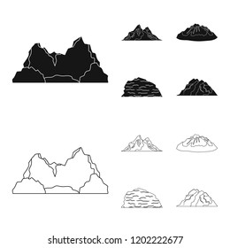 Mountains in the desert, a snowy peak, an island with a glacier, a snow-capped mountain. Different mountains set collection icons in black,outline style bitmap symbol stock illustration web.
