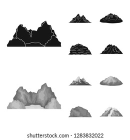 Mountains in the desert, a snowy peak, an island with a glacier, a snow-capped mountain. Different mountains set collection icons in black,monochrome style bitmap symbol stock illustration web.