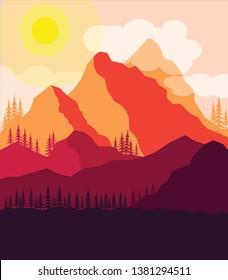 Mountains Flat Design for Interior Wallart