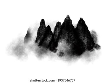 Mountains in fog hand drawn with ink in minimalist style on white background. Traditional oriental ink painting ,mean  spirit, peace, clarity.