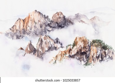 Mountains in fog hand drawn with watercolor.